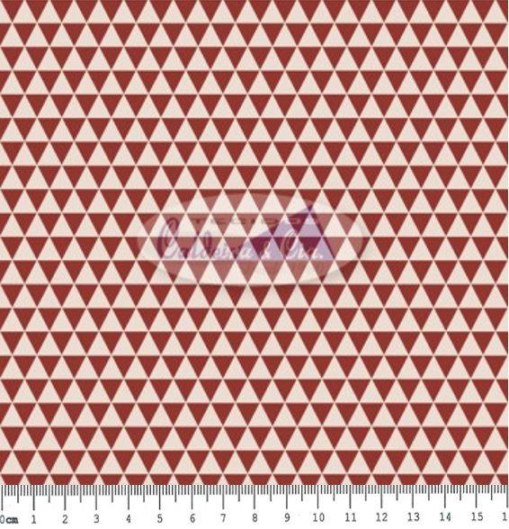 Tecido Tricoline Estampa Ternura Cor  07 (Triângulos Bordo e Branco) - 50 cm x 150 cm