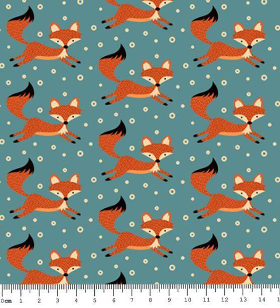 905196b0fa Tecido Tricoline Estampa de Raposas (Fundo Verde) - Coleção Raposa Retrô -  Preço de