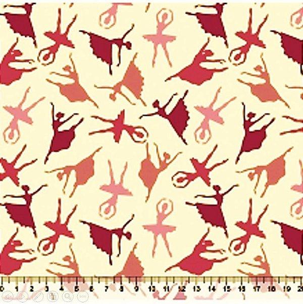 Tecido Tricoline  Estampa Bailarina (Fundo Bege) - Preço de 50 cm x 150 cm