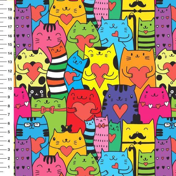 Tecido Digital - Gatos Coloridos - 50 cm x 150 cm