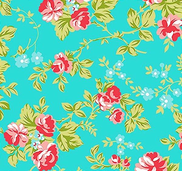 Tecido Tricoline Estampado Floral Fundo Tiffany - Coleção C'est la Vie - 50cm x 150cm