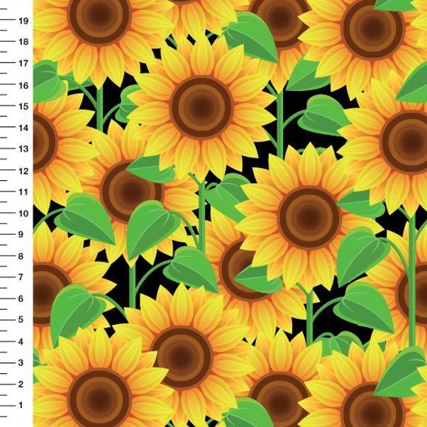 Tecido Digital - Estampa de Girassol - Preço de 50 cm x 150 cm