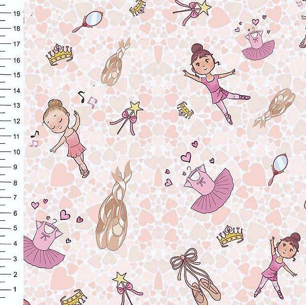 Tecido Digital - Bailarina Infantil com Fundo Rosa - Preço de 50cm x 150cm