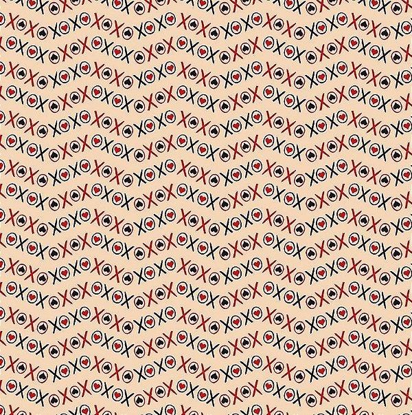 Tecido Tricoline Xoxo Rose - Coleção I Love You - 50cm x 150cm