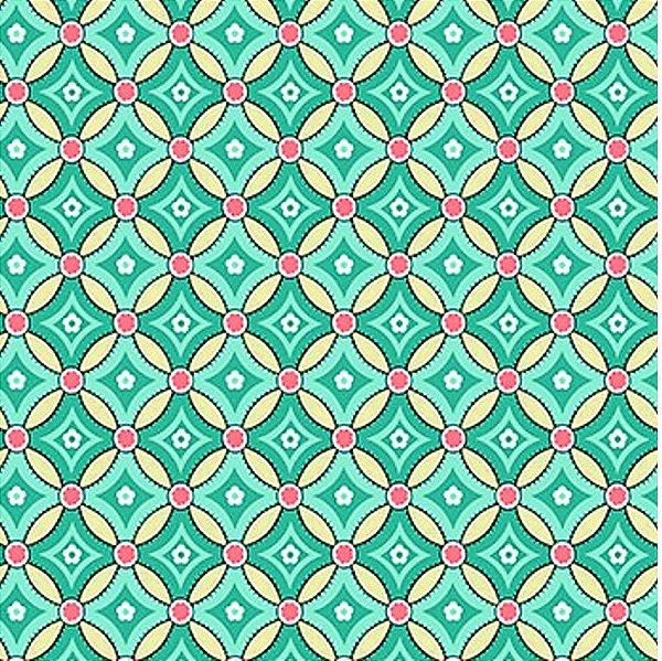 Tecido Tricoline com Estampa Geométrica Azul - Fundo Bege  - Coleção Jardim Secreto - Preço de 45cm x 150cm