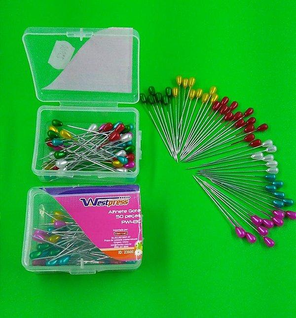 Alfinetes Coloridos Formato de Gota - 4,5 cm de Comprimento - 0,8 mm Espessura