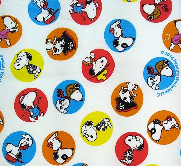 Tecido Tricoline Infantil Snoopy Bolas Coloridas (Fundo Branco) - Preço de 50 cm x 150 cm