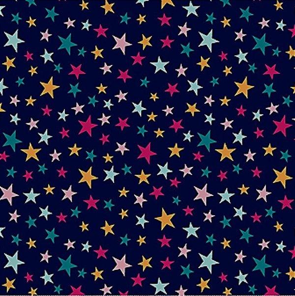 Tecido Tricoline Estampa Estrelinhas Coloridas - Fundo Marinho - Coleção Contos de Fadas - 50 cm x 150 cm
