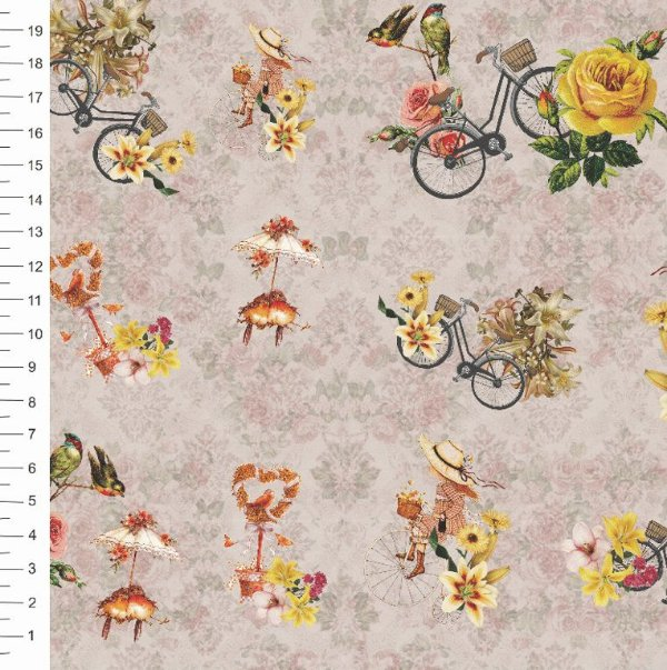 Tecido Digital Estampa de Bicicleta e Flores - 50 cm x 150 cm