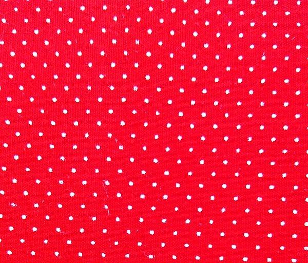 Tecido Tricoline  Estampa Micro Poá  Branco com Fundo Vermelho - 50 cm X 150 cm