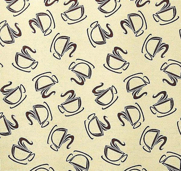 Tecido Tricoline Estampado Xícara de Café ou chá Marrom - Fundo Creme - Preço de 50cm x 150cm