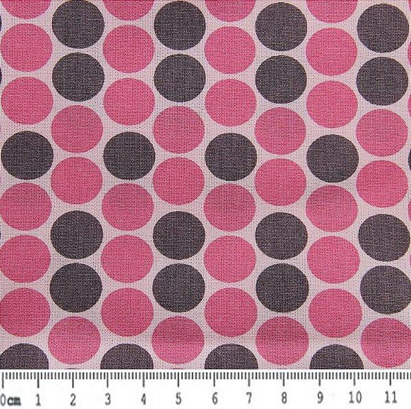 Tecido Tricoline Estampado Bola Cinza e Rosa  (Fundo Rosa) - 50cm x 150cm