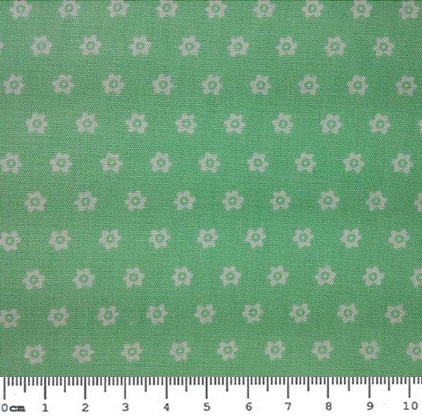 Tecido Tricoline Estampa de Mini Florzinhas (Fundo Tiffany) - Preço de 50cm x 150cm