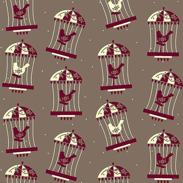 Tecido Tricoline Estampa Gaiola com Pássaros - Fundo Caramelo - Coleção Folk Por Marias do Brasil - Corte Mínimo de 50 cm x 150cm