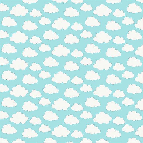 Tecido Tricoline Estampa Nuvem - Fundo Azul - Coleção Irmãos Corujas - Corte Mínimo de 45 cm x 150 cm