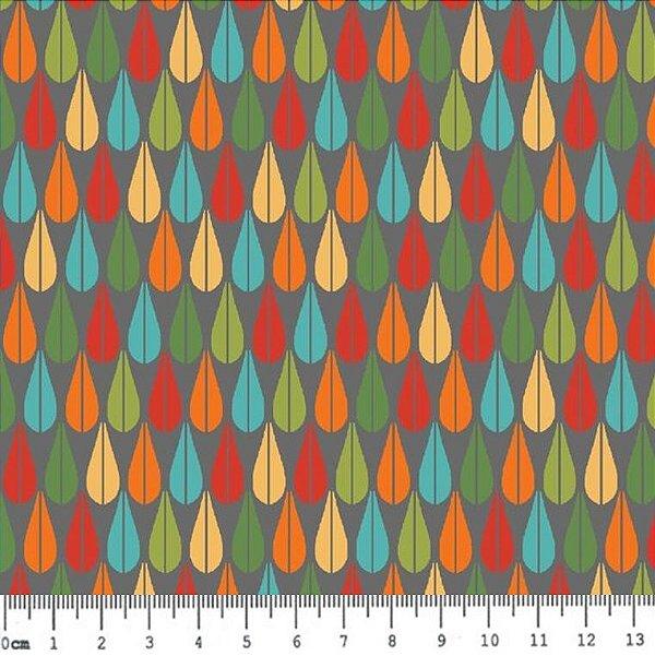 Tecido Tricoline Estampa de Pena - Coleção Bohêmia (Fundo Cinza) - Preço de 50 cm x 150 cm