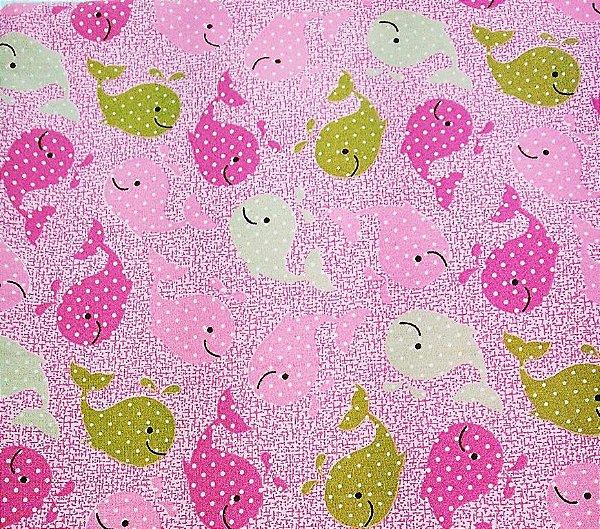 Tecido Tricoline Estampa Baleinha c/ Poá (Fundo Rosa) - Corte Mínimo de 50 cm x 150 cm