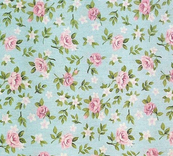 Tecido Tricoline Estampa Floral Lúcia de Rosinhas (Fundo Tiffany) - Corte Mínimo de  45 cm x 150 cm