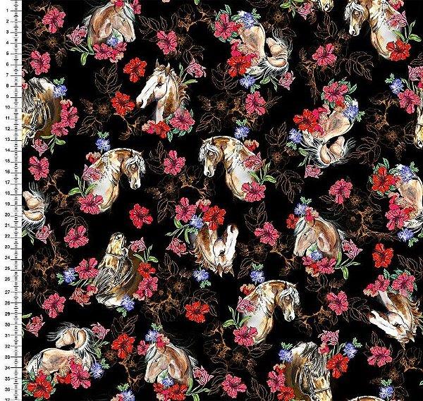 Tecido Digital Cavalos e Flores (Fundo Preto) - Preço de 50 cm x 150 cm