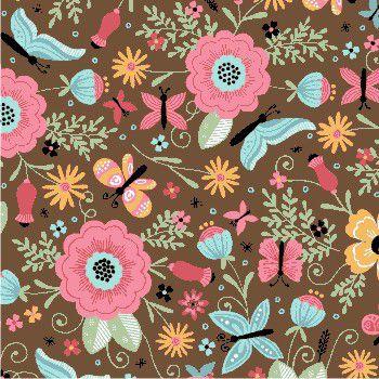 Tecido Tricoline  Estampa de Borboletas e Floral (Fundo Marrom) - Coleção Borboletando - 50 cm X 150 cm