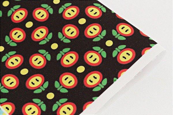 Tecido Estampa Infantil - Flor de Fogo - Mario Bros. - Fundo Preto - 100% Poliéster - (30cm x 45cm)