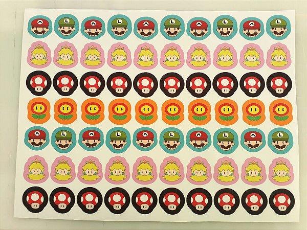 Tecido Estampa Infantil - Botons - Mario Bros. - Fundo Branco - 100% Poliéster - (30cm x 45cm)