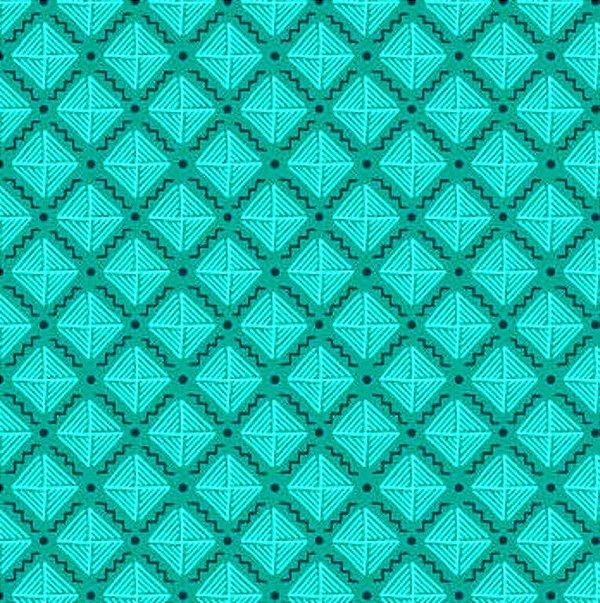 Tecido Tricoline com Estampa Listrada - Coleção Geométrico (Fundo Tiffany) - Preço de 50cm x 150cm