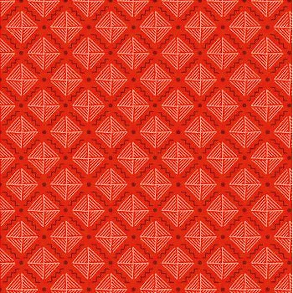 Tecido Tricoline com Estampa Listrada - Coleção Geométrico (Fundo Telha) - 50cm x 150cm