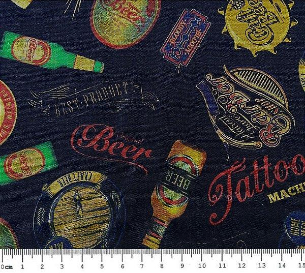 Tecido Digital Cervejas Beer (Fundo Preto) - Preço de 50cm x 150cm