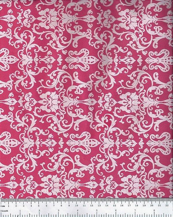 Tecido Tricoline  Arabesco (Fundo Rosa) - 50 cm x 150 cm