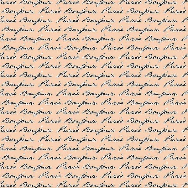 Tecido Tricoline Estampa Bonjour Paris (Fundo Rosa) - Preço de 50cm x 150cm