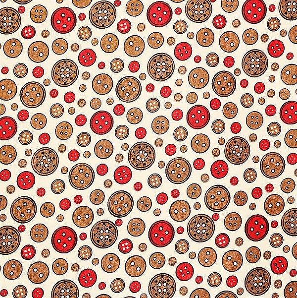 Tecido Tricoline Botões Rosê - Coleção Costura - Corte Mínimo de 50 cm x 150 cm