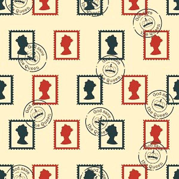 Tecido Tricoline Selos Britânicos - Coleção Londres - Corte Mínimo de 50 cm x 150 cm