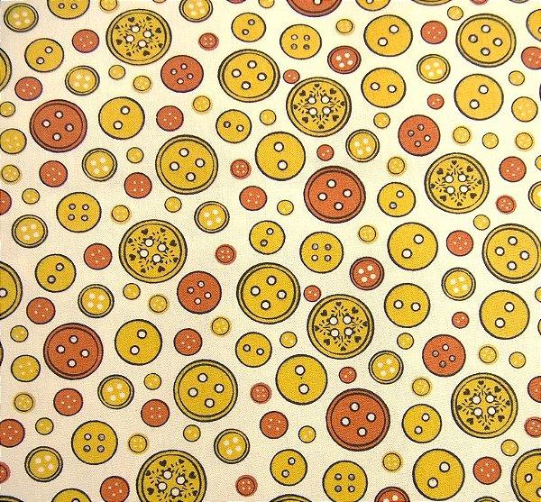 Tecido Tricoline Botões Mostarda - Coleção Costura - Corte Mínimo de 50 cm x 150 cm