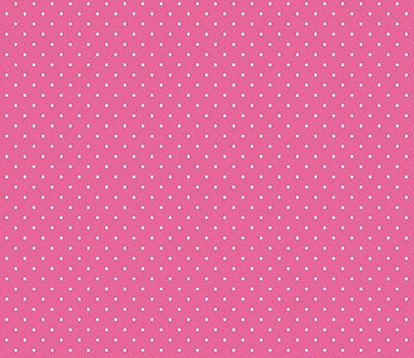 Tecido Tricoline  Estampa Micro Poá  Branco com Fundo Pink - Preço de 50 cm X 150 cm