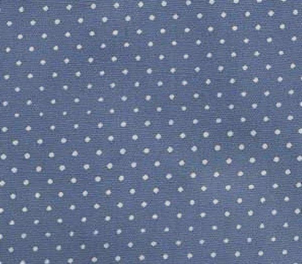 Tecido Tricoline  Estampa Micro Poá Branco c/ Fundo Azul Jeans - Preço de 50 cm X 150 cm