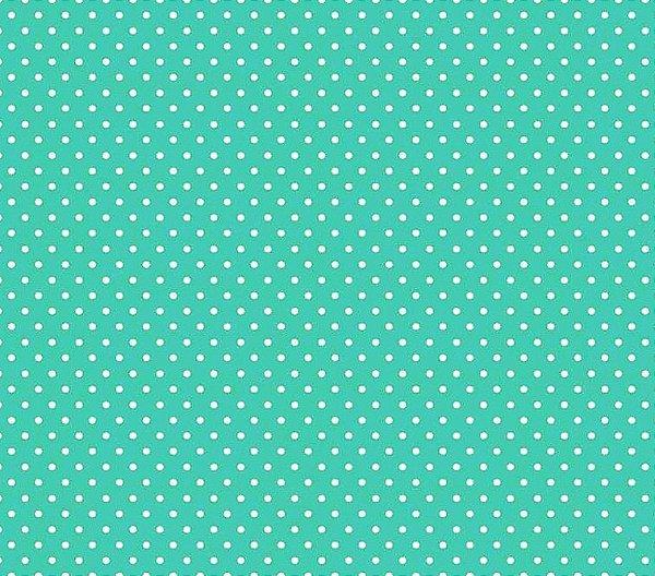 Tecido Tricoline  Estampa Micro Poá  Branco com Verde Caribe - Preço de 50 cm X 150 cm