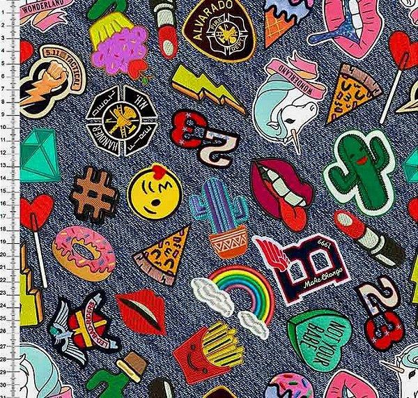 Tecido Digital Stickers e Etiquetas - Preço de 50cm x 146cm