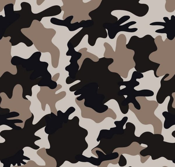 Tecido Estampado para Patchwork - Camuflado Sarja Cinza, Preto e Branco - Corte Mínimo de 50cm x 150cm