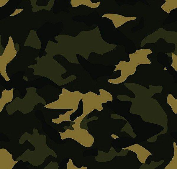 Tecido Estampado para Patchwork - Camuflado Sarja Verde, Bege e Preto - Corte Mínimo de 50cm x 150cm