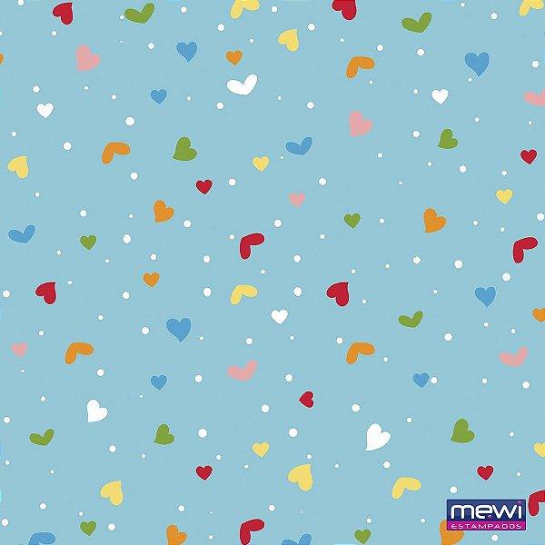 Feltro Estampado Coração e Confete - Fundo Azul Turquesa - Coleção Confete - Corte Mínimo de 50cm x 140cm