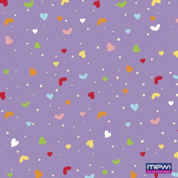 Feltro Estampado Coração e Confete - Fundo Lilás - Coleção Confete - Corte Mínimo de 50cm x 140cm