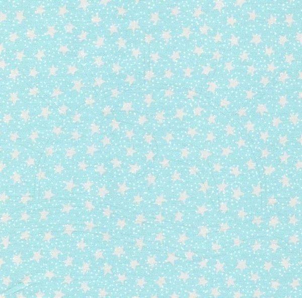 Tecido Tricoline Estampa Estrelinhas - Fundo Azul - Coleção Saturno - 50 cm x 150 cm
