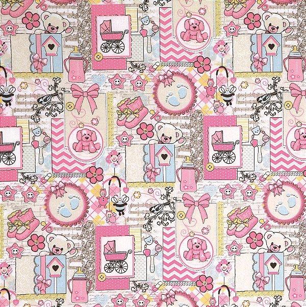 Tecido Tricoline Estampa Ursinho Patch Rosa - Corte Mínimo 50cm x 150cm