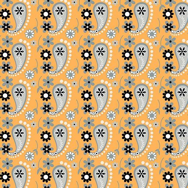 Tecido Tricoline Cashmere Mostarda- Coleção Mundo Cashmere - 50 cm X 150 cm