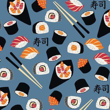 Tecido Tricoline Estampado de Sushi - Fundo Azul - Coleção Sushi Bar - 50 cm X 150 cm