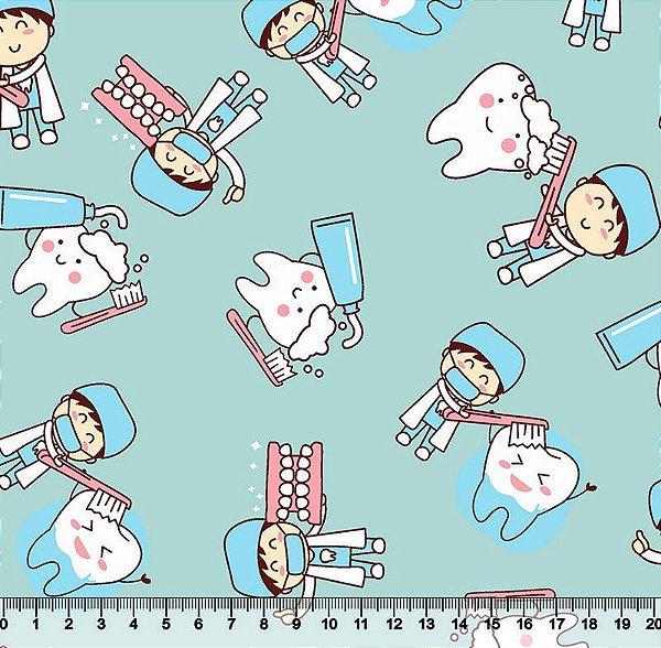 Tecido Tricoline Dentes e Crianças (Fundo Verde Água) - Preço de 50 cm x 150 cm