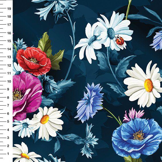 Tecido Tricoline Digital Floral Azul - Fundo Marinho Noite - Preço de 50cm x 150cm