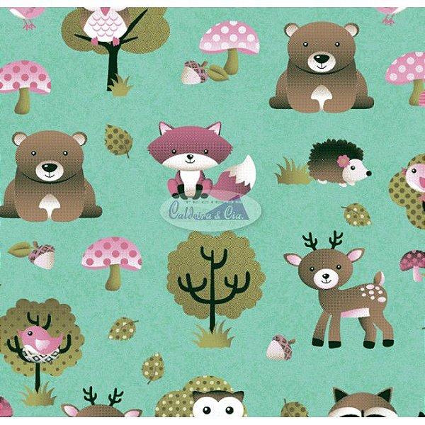 Tecido Tricoline Infantil Animais e Floresta (Fundo Tiffany) - Coleção Viva a Natureza - Corte Mínimo 50 cm X 150 cm