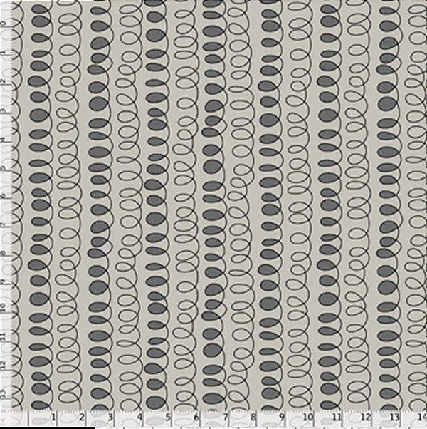 Tecido Tricoline Estampa de Caligrafia - Fundo Cinza - Coleção Gato Maroto - Preço de 50 cm X 150 cm